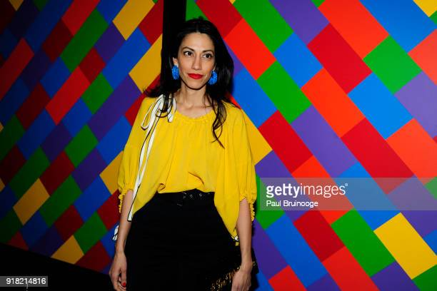 Huma Abedin attends The Cinema Society with Ravage Wines Synchrony host a screening of Marvel Studios' 'Black Panther' at The Museum of Modern Art on...