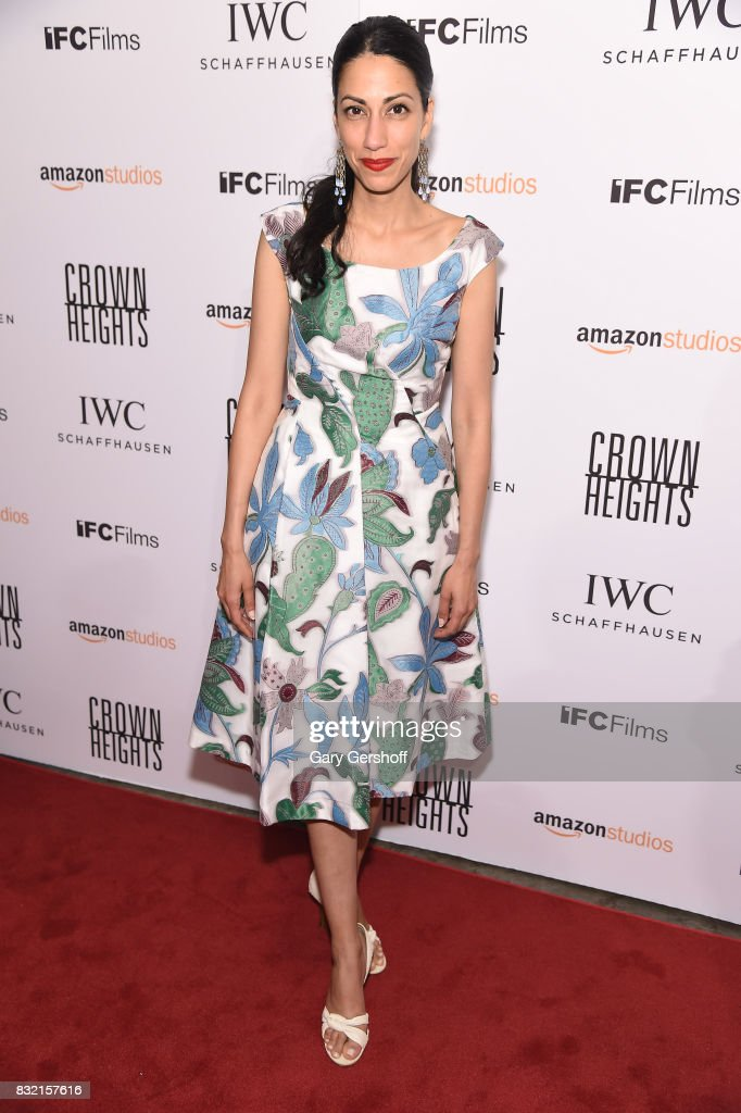 Huma Abedin attends the 'Crown Heights' New York premiere at The Metrograph on August 15, 2017 in New York City.