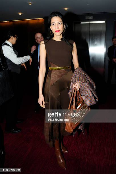 Huma Abedin attends Triple Frontier World Premiere at Jazz at Lincoln Center on March 3 2019 in New York City