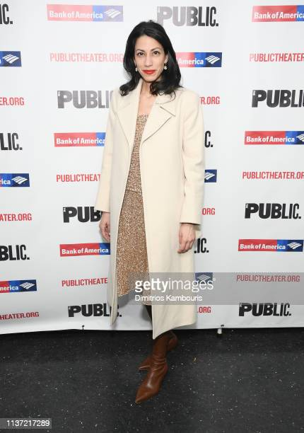 Huma Abedin attends White Noise Opening Night at The Public Theater on March 20 2019 in New York City