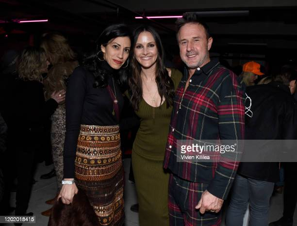 Huma Abedin Christina McLarty Arquette and David Arquette attend the Bootsy Bellows Pop Up celebrating XTR at Lateral at WarnerMedia Lodge Elevating...