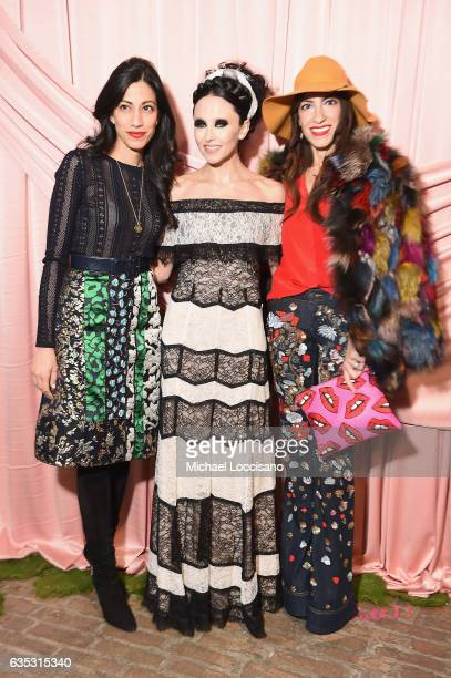 Huma Abedin designer Stacey Bendet and Heba Abedin attend the alice olivia by Stacey Bendet Fall 2017 Presentation at Highline Stages on February 14...