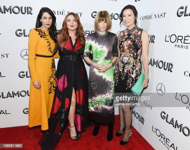 Huma Abedin Glamour EditorinChief Samantha Barry Anna Wintour and Wendi Deng attend the 2018 Glamour Women Of The Year Awards Women Rise on November...