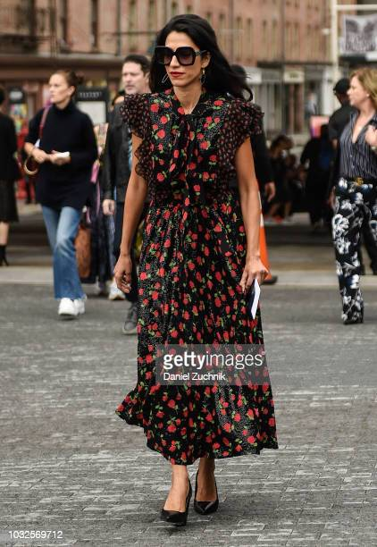 Huma Abedin is seen wearing a floral dress outside the Michael Kors show during New York Fashion Week Women's S/S 2019 on September 12 2018 in New...