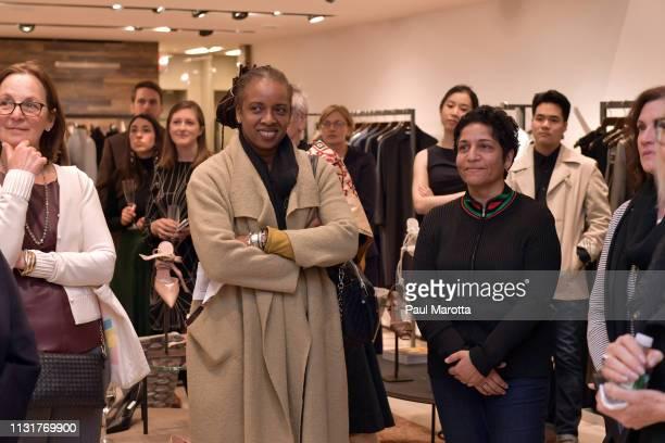 Huma Bhabha and guests attend the Max Mara Celebrates Huma Bhabha 'They Live' At ICA/Boston on March 20 2019 in Boston Massachusetts
