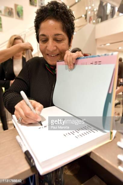 Huma Bhabha signs autographs at the Max Mara Celebrates Huma Bhabha 'They Live' At ICA/Boston on March 20 2019 in Boston Massachusetts