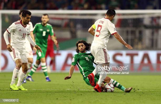 Humam Tareq Faraj of Iraq in action during the AFC Asian Cup Group D match between Iran and Iraq at Al Maktoum Stadium on January 16 2019 in Dubai...
