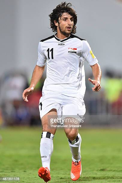 Humam Tariq of Iraq looks during the 2018 FIFA World Cup Qualifier match between Thailand and Iraq at Rajamangala Stadium on September 8 2015 in...