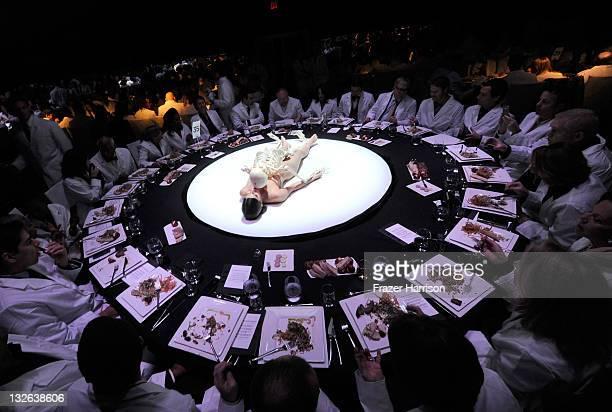 A human art installation is displayed at the 2011 MOCA Gala An Artist's Life Manifesto Directed by Marina Abramovic at MOCA Grand Avenue on November...