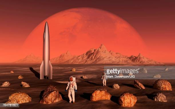 Human Astronauts On One Of The Planet Mars Moons.
