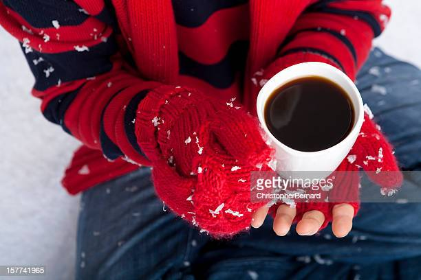human being enjoying a hot beverage - mitten stock pictures, royalty-free photos & images