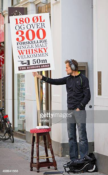 Human billboardr in Copenhagen