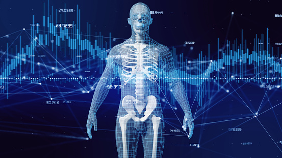 Human body and communication network concept. 1001817586
