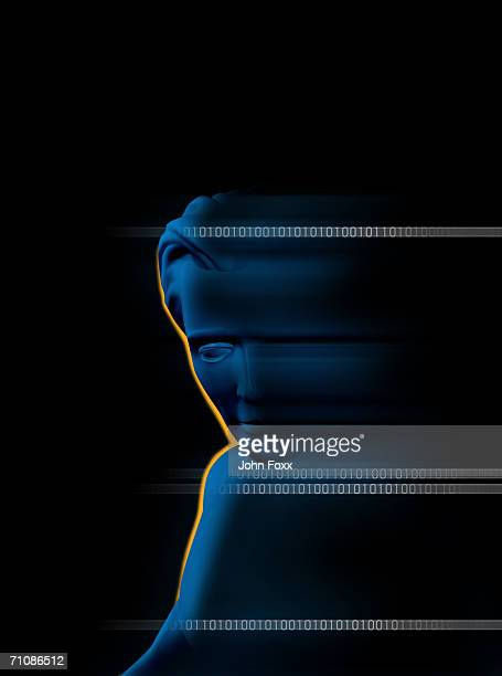 Human body with binary number against black background (Digitally Generated)