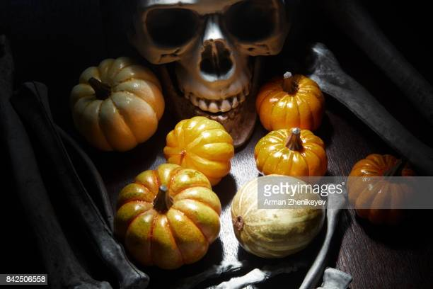 human bones and skull on the table with halloween pumpkin - ugly pumpkins stock photos and pictures