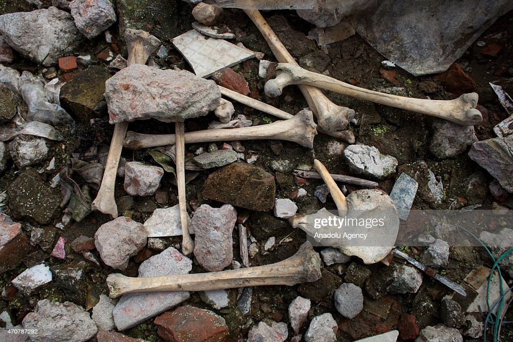 Human bones are seen at the site of Rana Plaza building collapse on the second-year anniversary of the incident at Savar in Dhaka, Bangladesh, on April 23, 2015.