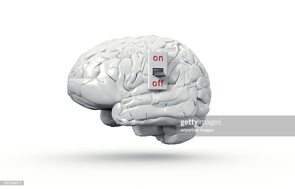 Human brain with On/Off switch in off position : Stock Photo