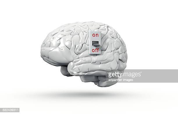 human brain with on/off switch in off position - off stock pictures, royalty-free photos & images