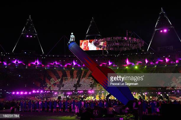 A human cannon ball performs during the Closing Ceremony on Day 16 of the London 2012 Olympic Games at Olympic Stadium on August 12 2012 in London...