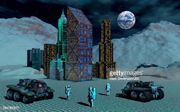 human colonization of the moon. - colony stock pictures, royalty-free photos & images