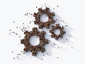 Human Crowd Forming  Gear Symbols : Hierarchy Concept