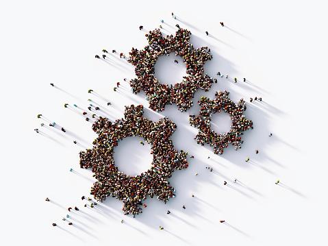 Human Crowd Forming  Gear Symbols : Hierarchy Concept 1139377524