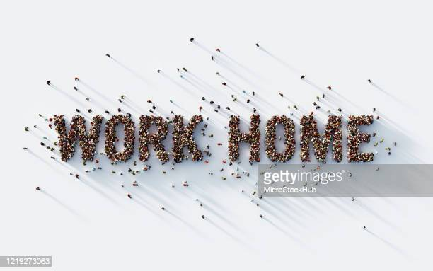 human crowd writing work home text on white background - covid icons stock pictures, royalty-free photos & images