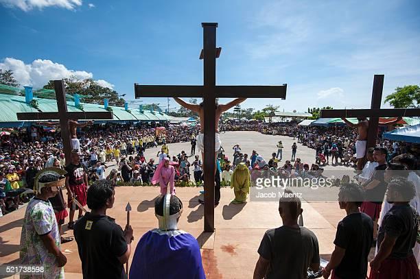 Human crucifixion reenactment on Good Friday