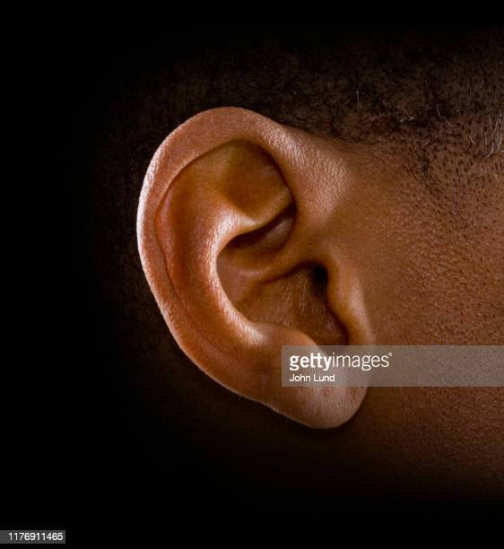 human ear dramatic lighting - ear stock pictures, royalty-free photos & images