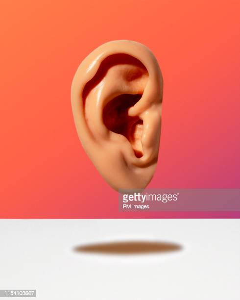 human ear floating - rumor stock pictures, royalty-free photos & images