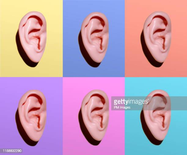human ears on different colors - listening stock pictures, royalty-free photos & images