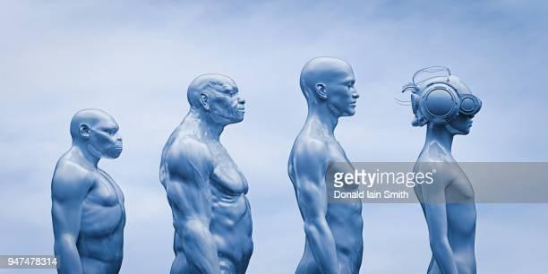 human evolution: ape, caveman, modern man, future man with vr headset - evolução - fotografias e filmes do acervo