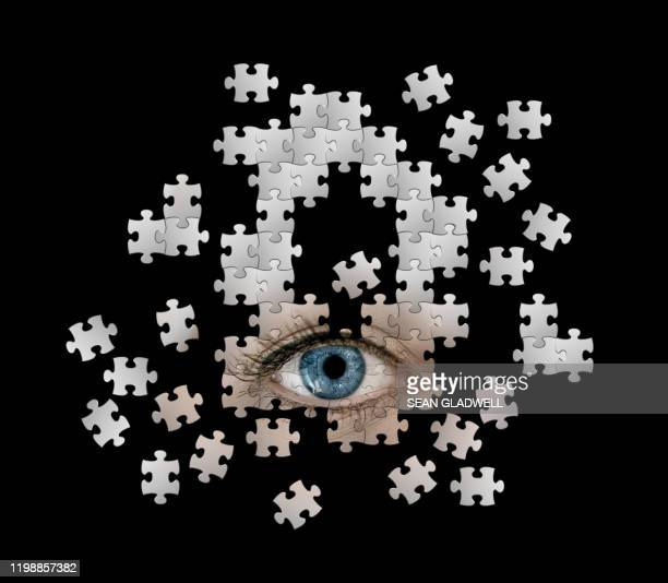 human eye puzzle - missing people stock pictures, royalty-free photos & images