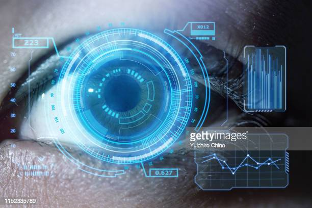 human eye with using the graphical user interface technology - hud graphical user interface stock photos and pictures