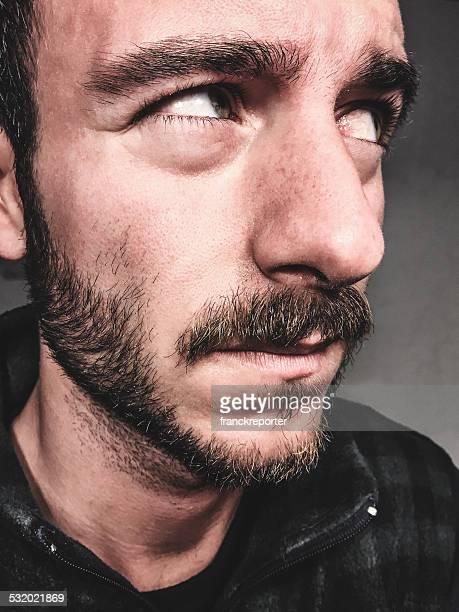 viso barba primo piano - human face foto e immagini stock