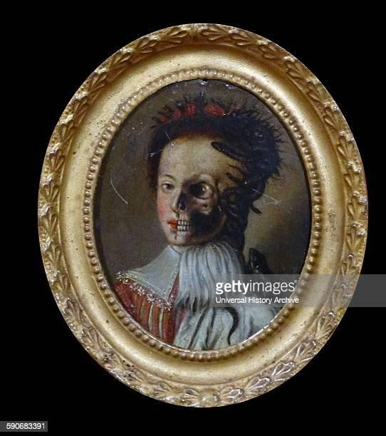 Half Alive Half Dead' Italian oil on copper 18th century