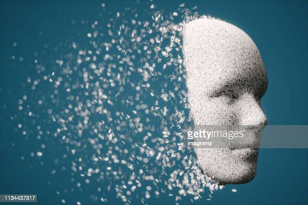 3d human face with disintegrating hexadecimal letters - artificial intelligence stock pictures, royalty-free photos & images