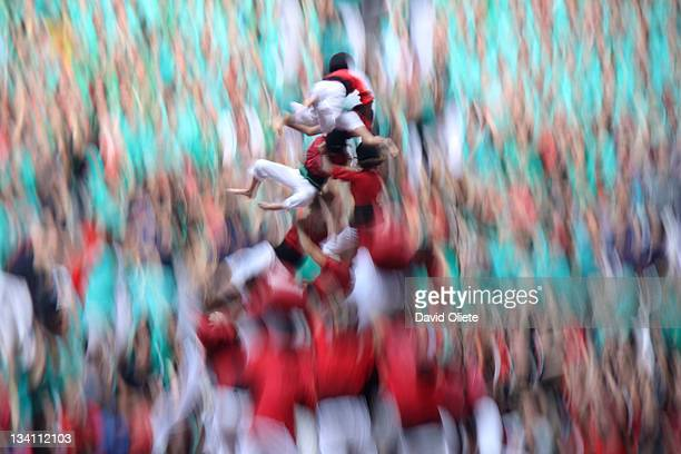 human falling down - castellers stock photos and pictures