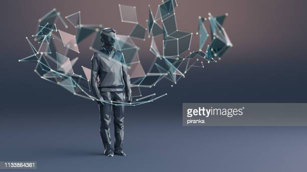 human figure surrounded by particles - surrounding stock pictures, royalty-free photos & images