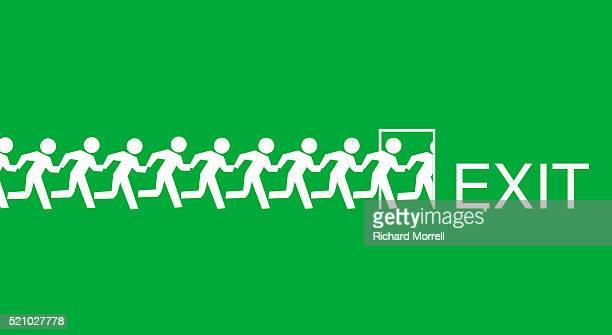 Human Figures Running Towards Exit