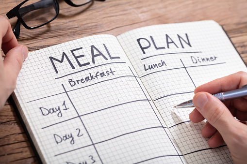 Human Hand Filling Meal Plan In Notebook 1130220091