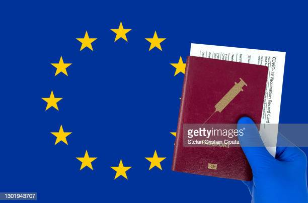 human hand holding a passport and vaccination certificate - passport stock pictures, royalty-free photos & images