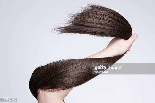 human hand holding brown hair against white background, close up - long hair stock pictures, royalty-free photos & images