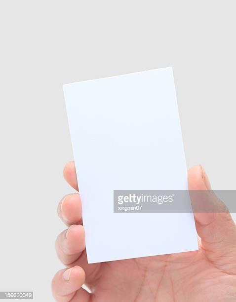 mano umana tenendo business card - biglietto da visita foto e immagini stock