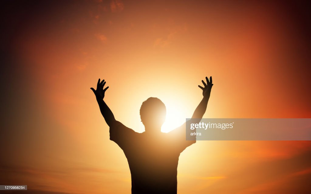 Human hands open palm up worship. Eucharist Therapy Bless God Helping Repent Catholic Easter Lent Mind Pray. Christian Religion concept background. fighting and victory for god : Stock Photo