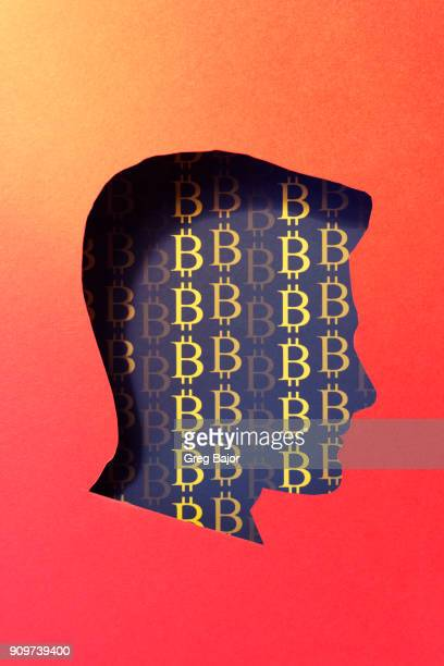 human head and bitcoin signs - greg bajor stock pictures, royalty-free photos & images