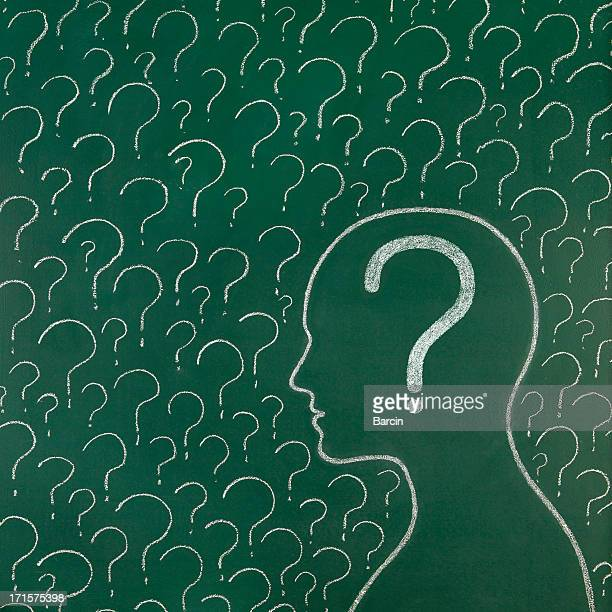 Human head and question marks