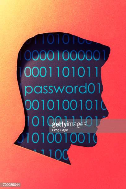 Human head, binary code and word password.