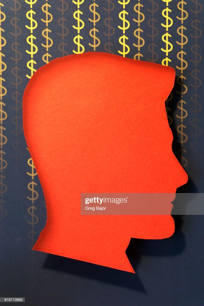 Human head Dollar signs : Stock Photo