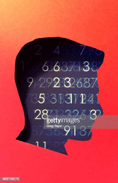 Human head with abstract code background